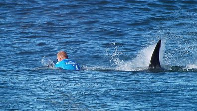 Mick Fanning of Australia is attacked by a Shark at the Jbay Open on July 19, 2015