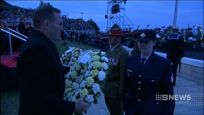 "Mr Abbott said the Anzac soldiers were the ""founding heroes of our nation"". (9NEWS)"