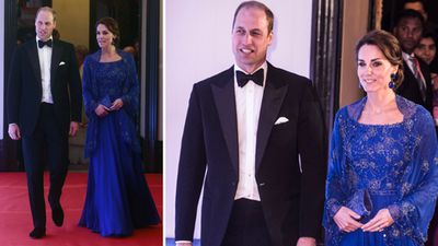 Kate wears a dark blue gown at a charity gala reception at the Taj Hotel in Mumbai, on day one of the tour.