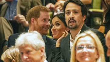 The Duke and Duchess of Sussex, Harry and Meghan, attend a gala performance of the hit show Hamilton at the Victoria Theatre in London.