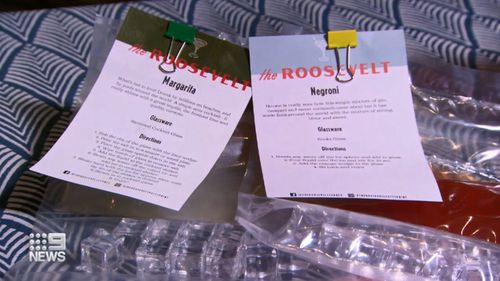 Bars have been sending out full cocktail packs with ice, cocktails, and garnish.