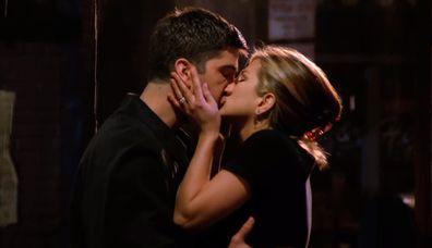 David Schwimmer and Jennifer Aniston on Friends.