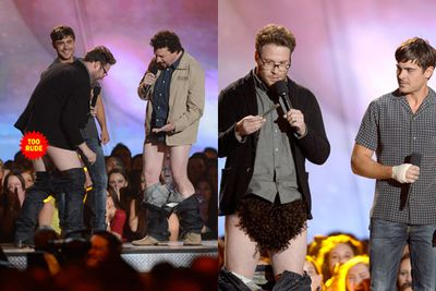 Seth Rogen showed us excess booty and an overly hirsute crotch wig at the MTV Movie Awards. Zac Efron unfortunately did not follow suit. GROAN.