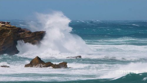 Winds swept across Victoria, causing a high swell. (9NEWS)