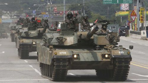 A procession of South Korean tanks. (AAP)