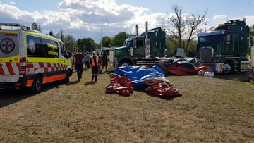 A jumping castle flipped in strong winds at a Elderslie fruit market.