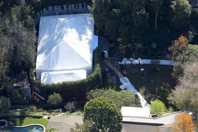 "The marquee was erected earlier in the day.<br/><br/>""There is a lot of security and they are trying to keep the wedding hush-hush by telling neighbours that Cameron is having a pre-Golden Globes party tonight,"" a source told <i>People</i> on the day of the bash."