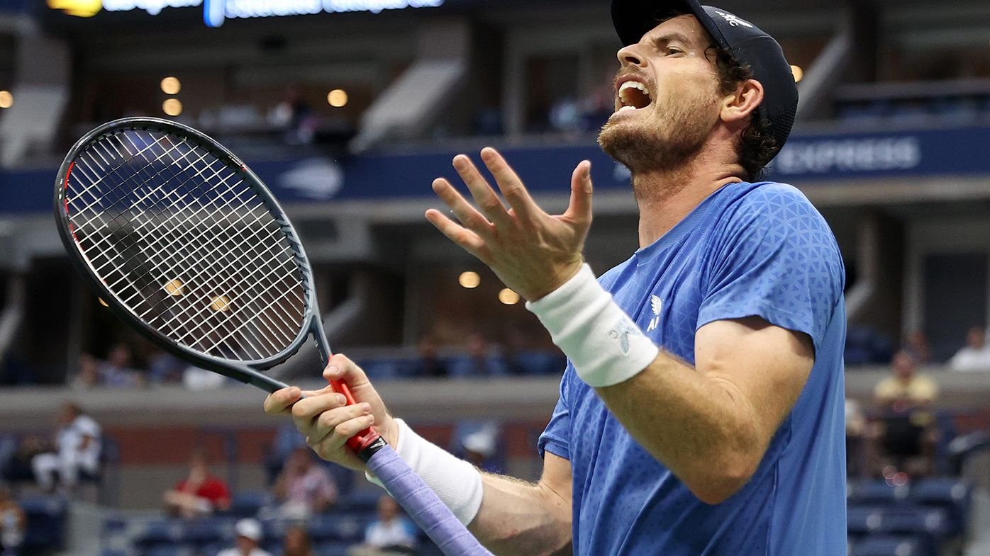Andy Murray shows his frustration during his loss to Stefanos Tsitsipas.