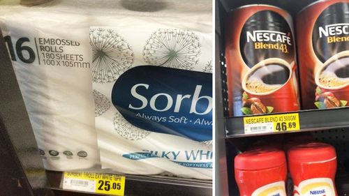 Photos show the cost of toilet paper in Hope Vale, and instant coffee in Weipa, both remote Queensland communities.