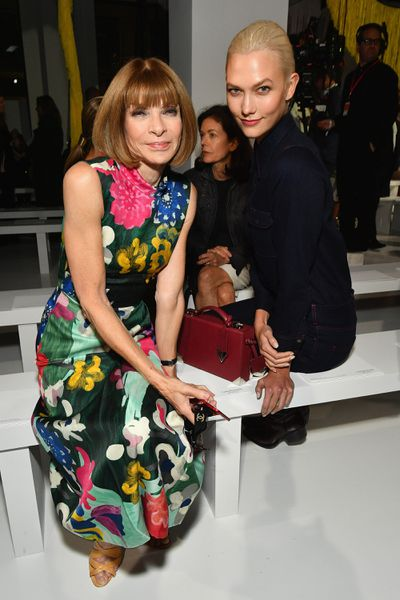 Anna Wintour and Karlie Klossfront row at Calvin Klein, New York Fashion Week, September 2017.