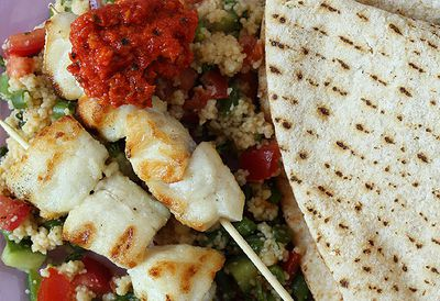 Fish kebabs  and quick tabbouleh