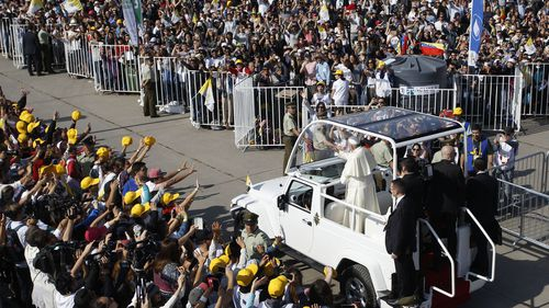 Pope Francis greets the faithful on 16 January, 2018 in Santiago, Chile. Photo: Getty Images