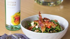 Rocket, strawberry, prosciutto and blue cheese salad with fig dressing