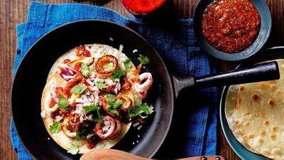 "Recipe:<a href=""http://kitchen.nine.com.au/2016/05/16/11/54/calamari-tacos-with-chilli-sauce"" target=""_top"" draggable=""false"">Calamari tacos with chilli sauce</a>"