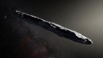 An artist's impression of the Oumuamua asteroid.