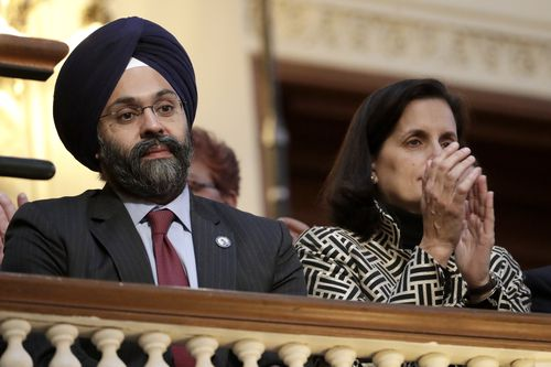 New Jersey Attorney General Gurbir Grewal, left.