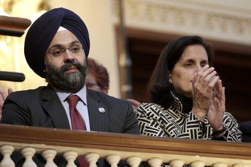 New Jersey Attorney General Gurbir Grewal, left.