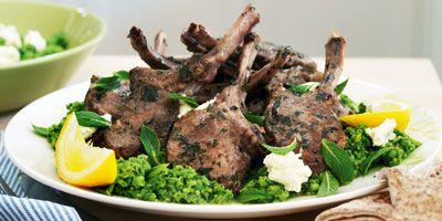Oregano lamb cutlets with ricotta & mashed peas