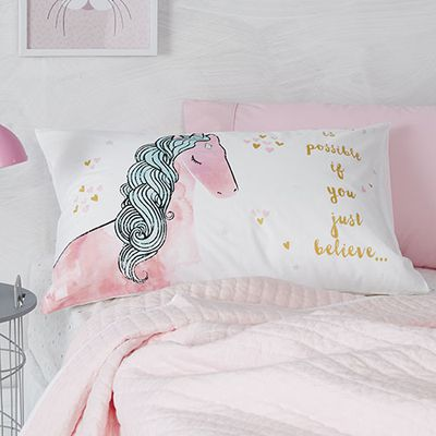 "<a href=""https://www.adairs.com.au/adairs-kids/bedroom/pillowcases/adairs-kids/text-pillowcase-85d07f19/"" target=""_blank"">Adairs Kids Unicorn Pillowcase, from $11.99.</a>"