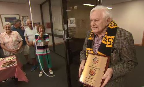 Carter was awarded a plaque for his years of service.