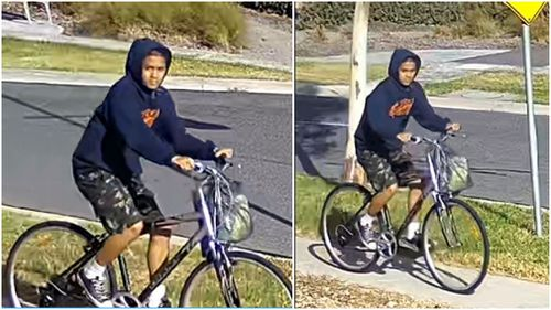 CCTV has been released of the alleged offender on his bicycle. (Victoria Police)