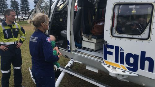 Ten-week-old baby boy flown to hospital after falling off table and hitting his head