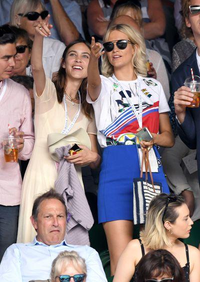 Alexa Chung and Poppy Delevingneat Wimbledon 2018