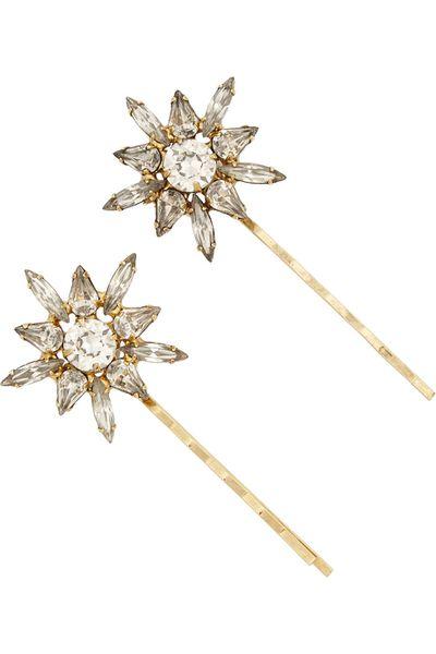 "<p><a href=""http://www.net-a-porter.com/au/en/product/590739"" target=""_blank"">Thea gold-tone Swarovski crystal hair slides, $187.60, Jennifer Behr</a></p>"