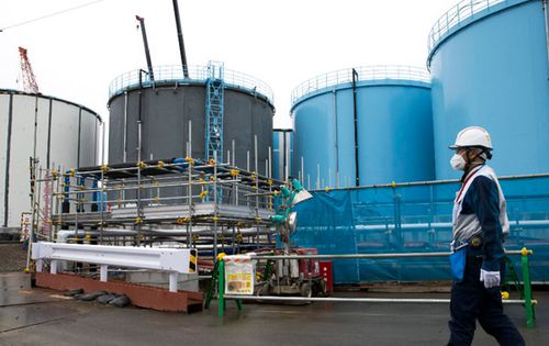 Some of the 900 storage tanks that contain the contaminated water.