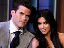 Kim Kardashian and Kris Humphries on the Tonight Show With Jay Leno at NBC Studios on October 4, 2011 in Burbank, California.