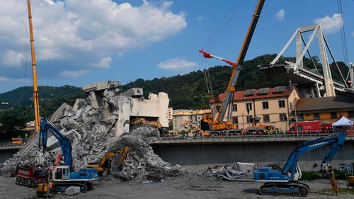 The collapsed Morandi highway bridge, in Genoa, that left 43 people dead.