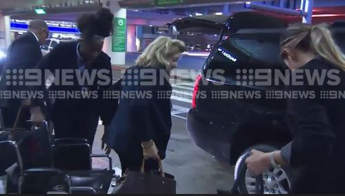 Ms Packer is in town to support her son James, who has quit the board of Crown Resorts. (9NEWS)