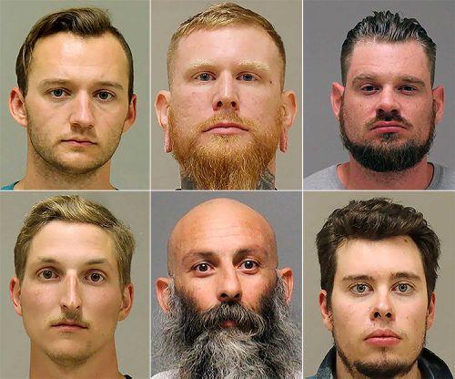 Ty Garbin (bottom right) will testify against Kaleb Franks, Brandon Caserta, Adam Dean Fox, Daniel Harris and Barry Croft.