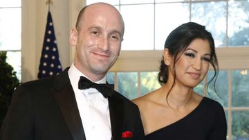 Top White House aides Stephen and Katie Miller at a reception for Prime Minister Scott Morrison last year.