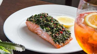 "<a href=""http://kitchen.nine.com.au/2017/06/02/13/09/oven-baked-ocean-trout-with-tahini-and-soft-herb-salad"" target=""_top"">Oven baked ocean trout with tahini and soft herb salad</a> recipe"