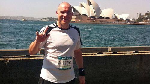 Mr Macduffie had just competed in his first marathon before he fell ill due to mould exposure. (Photo: Mark Macduffie)