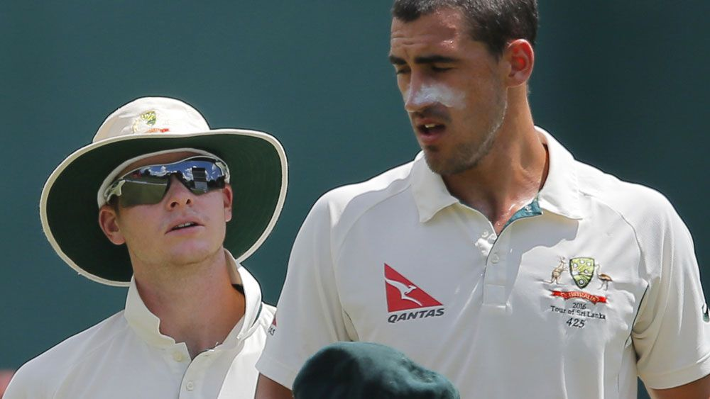 Steve Smith and Mitchell Starc. (AAP)