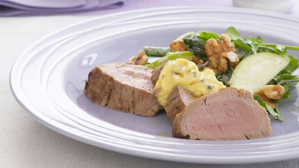 Pork fillet with garlic anchovy butter and Waldorf