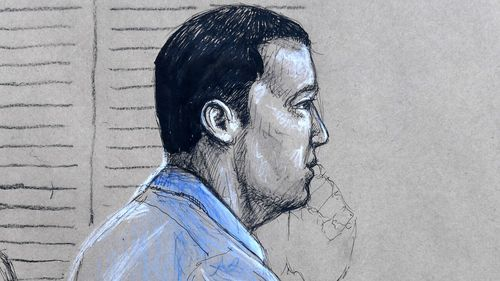 A court sketch of Alex McEwan.