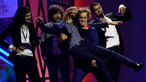 Tame Impala take to the ARIAs stage to collect an award. (AAP)