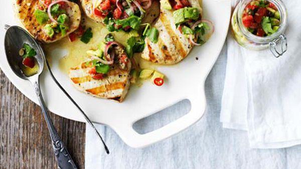 Swordfish steaks with avocado salsa
