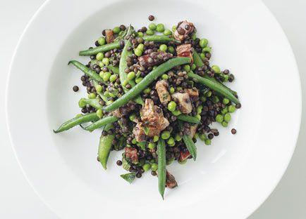Pancetta, pea, lentil and mint salad