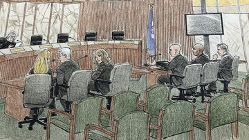 This courtroom sketch depicts jury selection Monday, April 1, 2019, in Minneapolis in the trial of former Minneapolis police officer Mohamed Noor, second from right, who fatally shot an unarmed Australian woman after she called 911.