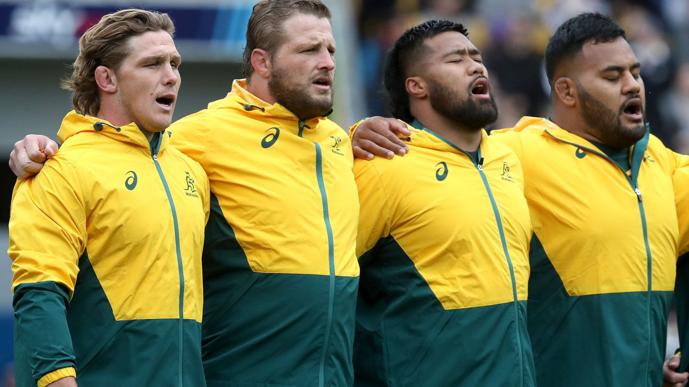 The Wallabies sing the Australian national anthem ahead of Game 1 of the Bledisloe Cup. (Getty)