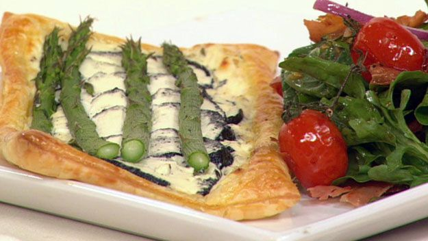 Asparagus and goats cheese tart with crispy prociutto salad