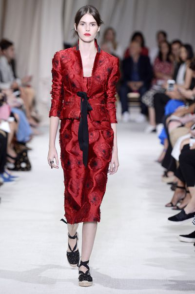 Oscar de la Renta's SS16 femme may be partial to blooms, but she's no wallflower.