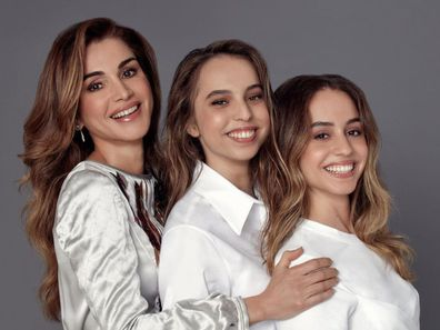 Queen Rania and her daughters Princess Salma and Princess Iman.