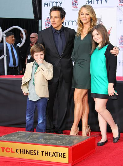 Ben Stiller, Christine Taylor, Quinlin Stiller and Ella Stiller attend the hand and footprint ceremony honoring Ben Stiller held at TCL Chinese Theatre on December 3, 2013 in Hollywood, California