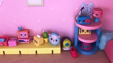 Shop until you drop: a Shopkins display in the author's house, care of her seven-year-old daughter.
