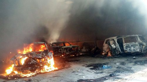 Fires were burning through the three hour gunfight. (AAP)
